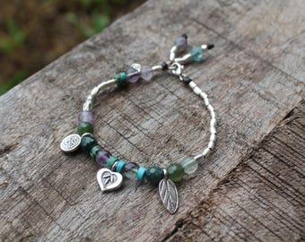 SUPPORT BRACELET - Karen Hill Tribe Silver - Moss Agate - Fluorite - Turquoise
