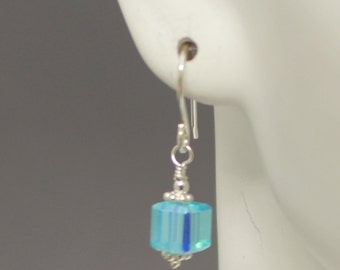 Wire-wrapped Aqua Square Crystal Earrings