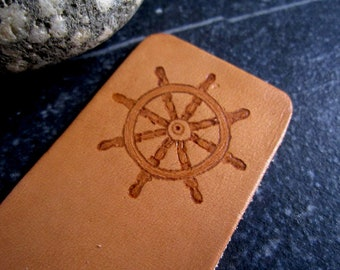 Captain's Wheel Nautical Bookmark - Leather Bookmark - Pyrography