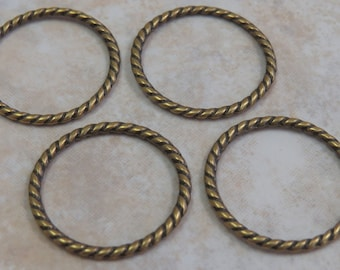 25mm Antique Brass Finish Twisted Circle Connector Links or Pendants - (I70)