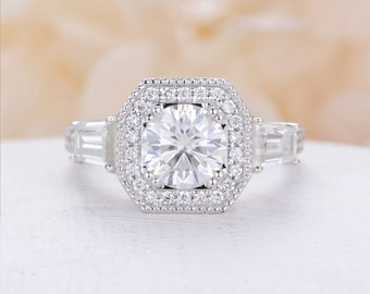 Antique engagement ring white gold Moissanite engagement ring vintage Art Deco Halo Diamond wedding bridal Jewelry Anniversary gift