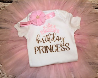 Birthday Princess Outfit, Pink and Gold Birthday Outfit, Girls Birthday Shirt, First Birthday Outfit, Sizes 6m-4T