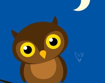 Night Owl - Medium or Small Art Print