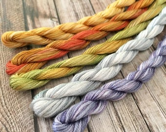 5 Skeins of Hand Dyed Stranded Cotton Embroidery Thread for Needlework, Embroidery and Cross Stitch.
