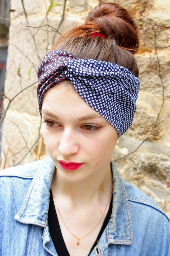 Headband hair Retro blue white Viscose and Jersey blue-Brown bubble dots. Headband