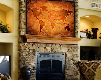 Huge What a Wonderful World Map Art on Canvas - Script  Version Text- Home of Office art