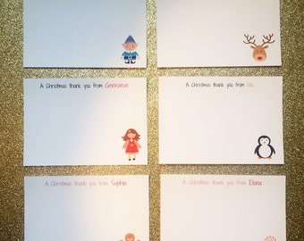 10 x Personalised Childrens Christmas Thank You Notelets / Postcards With Envelopes