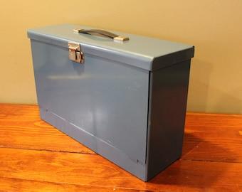 Vintage Metal File Box - Blue - Legal Size