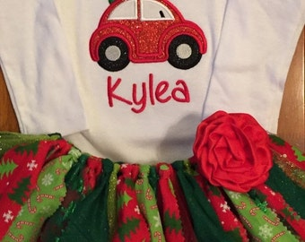 Christmas Beetle Bug Car Scrap Fabric Tutu Outfit