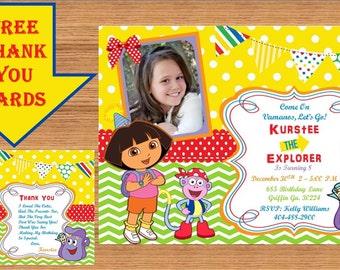 Dora The Explorer Invitation, Dora Invitation, Dora The Explorer Birthday, Dora The Explorer Birthday Party, Dora Party, Thank you Dora 0010
