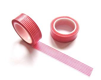 Washi Tape - Red Stripes Washi Tape - Japanese Masking Tape - 10 mt
