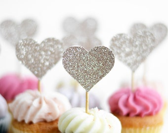 Glitter heart cup cake toppers