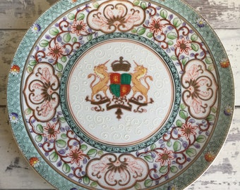 Vintage Lenwile Ardalt Plate - Hand Painted Coat of Arms Gold and Aqua Decorative Dish