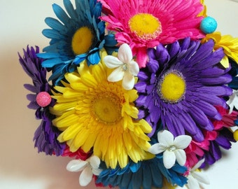 OOAk Rainbowlicious Bouquet With Matching Boutonniere