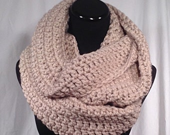 Taupe Wool Infinity Crochet Scarf