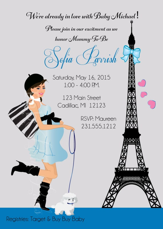 Boy baby shower invitation paris baby shower invitation like this item filmwisefo Choice Image