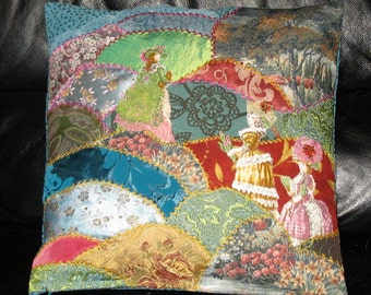 Embroidered  Crazy Quilt Pillow cover.Unique Fiber Art Work. Ladies in flowers garden.16x16 inches.Victorian style cushion
