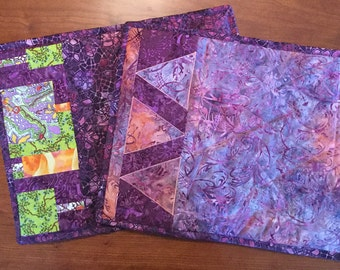Purple Batik Artsy Modern Placemat Set, Set of 6, fabric reversible placemats, quilted placemat, dining set, wedding gift, housewarming gift