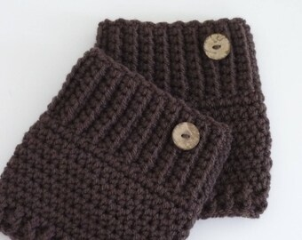 Crochet Boot Cuffs Button Accent Crochet Boot Topper Leg Warmer in Brown - Ready to Ship  - Direct Checkout - Gift for Her