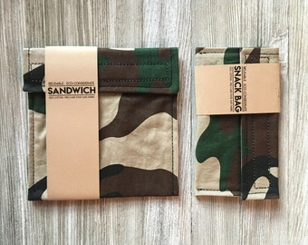 Reusable Snack bags // Reusable Sandwich bag// Zero Waste // camo