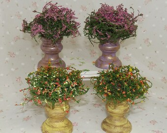 Miniature Plants Filled Planters. Dollhouse Garden Accessories. Miniature Plants, Flowers. Dollhouse Flowers. Barbie Flowers, Plants, Vases