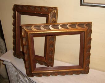 "FRAMES Carved WOOD Pair Mid Century Danish Modern Gold Red Finland Danish 6.87 x 8.87"" picture"