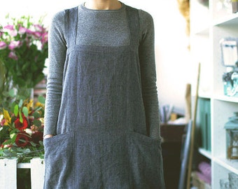 Pinafore / Japanese Style Apron / Washed Long Linen Apron / Soft Cross Back Apron / Linen Apron Dress in Gray Black / No Ties Apron
