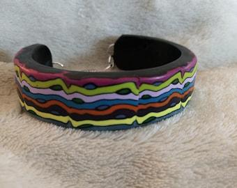 Cuff, multi colored Premo clay