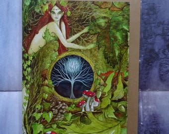 The Green Goddess A5 Art Card, Greetings Card, Nature Goddess, Spiritual Art, Healing art,  Nature, Forest, Woodland, World Tree, Toadstool