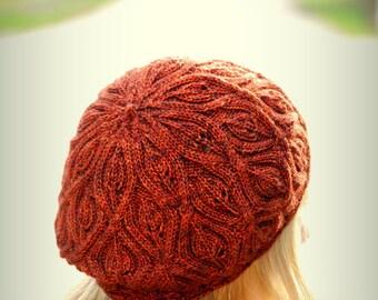 Pdf knitting pattern for feminine, nature-inspired beret for women