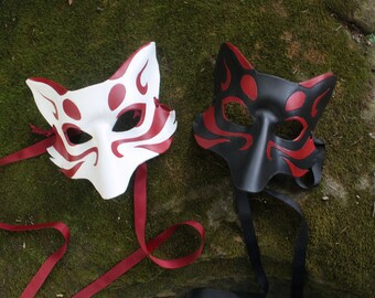 Kitsune Fox Leather Mask Made to Order, Great for Halloween Burning Man Masquerade Costume LARP Cosplay Mardi Gras