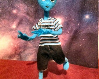 "Alien Hybrid PoZie - 10"" Tall in Blue, SUPER Posable Sculpture"