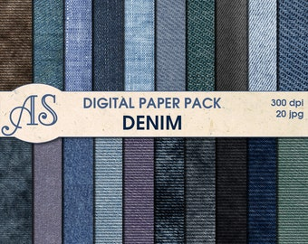 Digital Denim Paper Pack, 20 printable Digital Scrapbooking papers, jeans Digital Collage, fabric clip art, Instant Download, set 54a