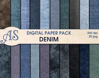 Digital Denim Paper Pack, 20 printable Digital Scrapbooking papers, jeans Digital Collage, fabric clip art, Instant Download, set 54a