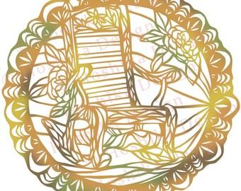 Rocking Chair, Kiri-e Japanese paper-cut style prints (set of 6 greeting cards)