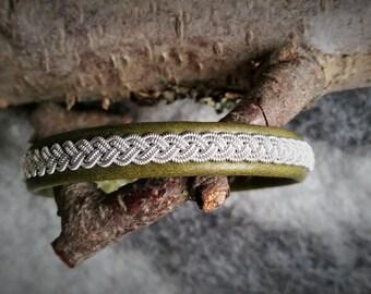 Tenntrådsarmband, Green leather bracelet, Nordic craft, Sami craft