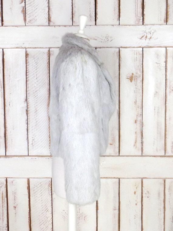 cropped fur coat wedding fur coat light rabbit bridal Vintage jacket fur silver grey ZPWd6qv4