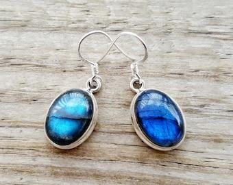 Labradorite Earrings - Sterling Silver Labradorite Earrings -  Gemstone Earrings - Labradorite Jewelry- Nepal Jewelry