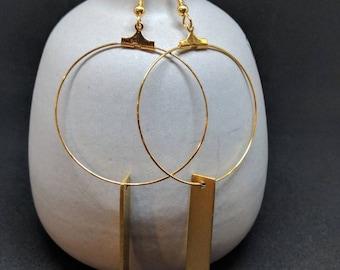 gold slate pendant hoop (large)