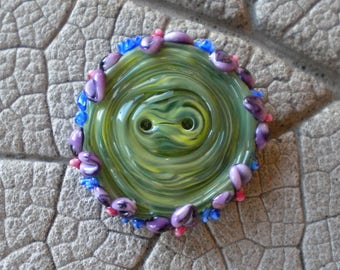 Purple Floral Green Handmade Glass BUTTON Lampwork Beads by Cherie Sra R114 Flameworke Glass Black 2 hole button Floral Edge Green Button