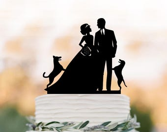 Wedding Cake topper with 2 dogs,bride hair up and bowl dress two dogs jumping, funny wedding cake toppers silhouette,