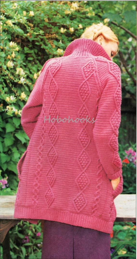Womens CROCHET Pattern Ladies Aran Style Cardigan Aran Jacket ...