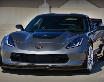 Poster of Chevy C7 Z06 Corvette Front Grey HD Print