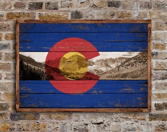 Colorado Mountains Framed wood Flag Flags Rustic Flags wooden handmade sign Rockies Colorado Rocky decor sign wall decor signs FREE SHIPPING