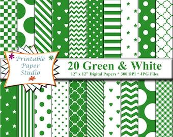 Green Digital Paper Pack, 12x12 Scrapbook Paper, Green Colored Paper Instant Download Digital File, Green Patterned Paper, Scrapbook Element