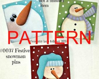 EPATTERN, 0037 Festive snowman pins, Christmas snowman pattern, painting patterns, tole painting pattern, Christmas pattern, Christmas pins