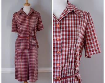 60s Dress / Vintage 60s Dress / Vintage 70s Dress / Skirt Set / Skirt and Top / Red / White / Shirtwaist Dress / Plaid Dress / Size Medium