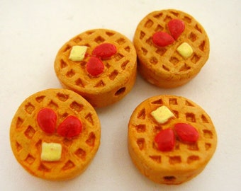 4 Tiny Waffle Beads