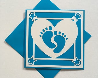 New baby card, congratulations on new baby, birth of new baby, greetings cards for new baby, baby feet