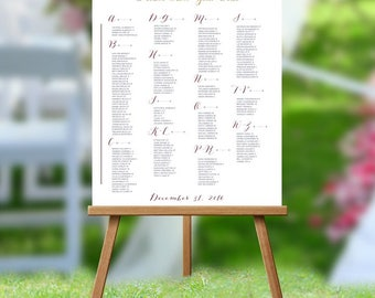 Wedding Table Assignments Board White Background, Wedding Seating Chart Poster, Table Listings, Seating Chart, Red Floral Wedding
